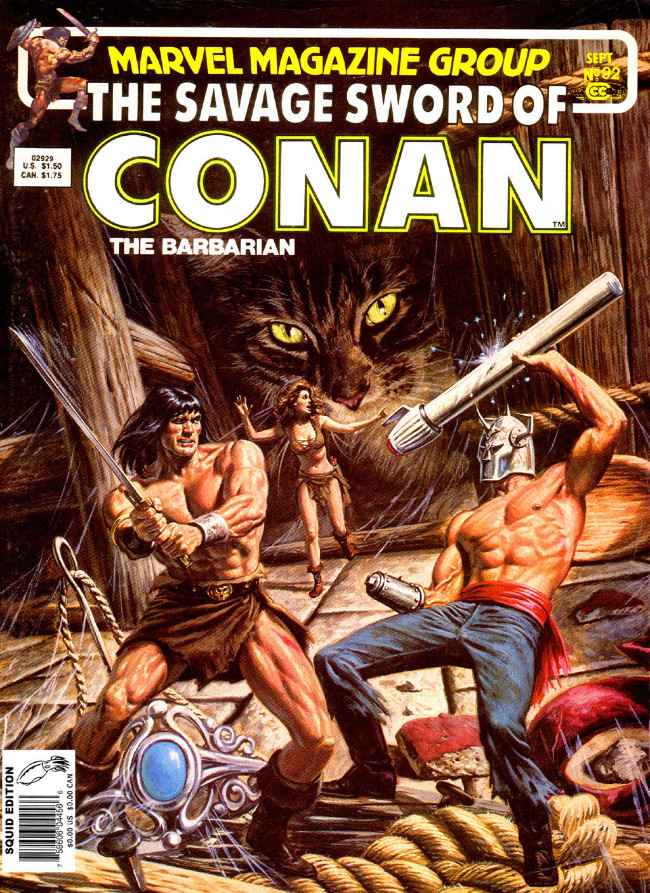 Couverture de Savage Sword of Conan The Barbarian (The) (1974) -92- The Jeweled Bird!