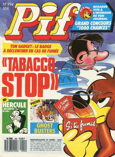 Couverture de Pif (Gadget) -994- le tabacco stop