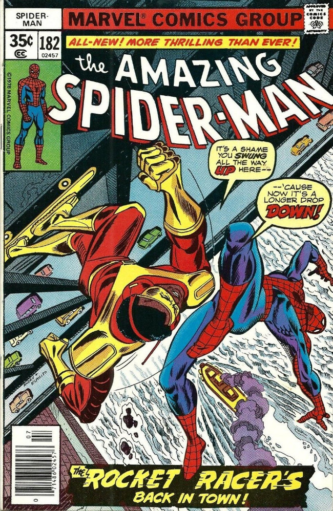 Couverture de The amazing Spider-Man Vol.1 (Marvel comics - 1963) -182- The Rocket Racer's Back In Town!