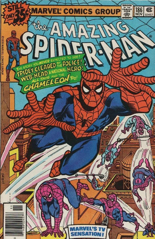Couverture de The amazing Spider-Man Vol.1 (Marvel comics - 1963) -186- Chaos Is--The Chameleon!