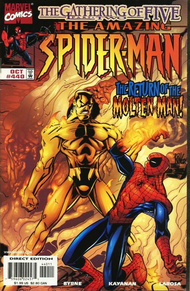 Couverture de The amazing Spider-Man Vol.1 (Marvel comics - 1963) -440- The Gathering of Five, Part Two: The Return of the Molten Man!