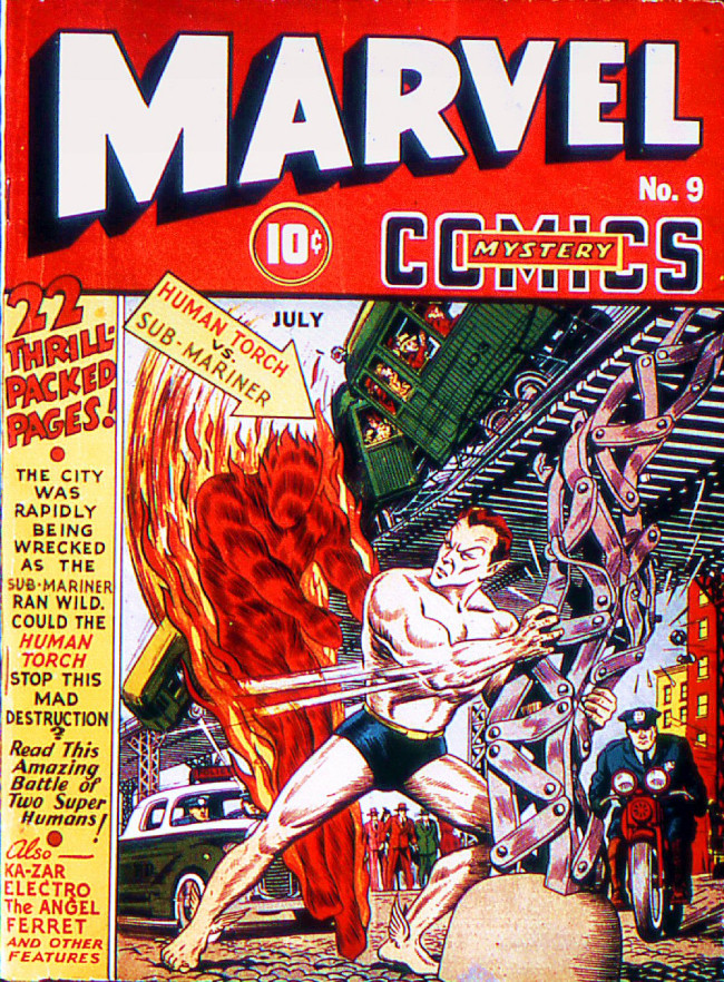 Couverture de Marvel Mystery Comics (Timely - 1939) -9- Human Torch vs. Sub-Mariner