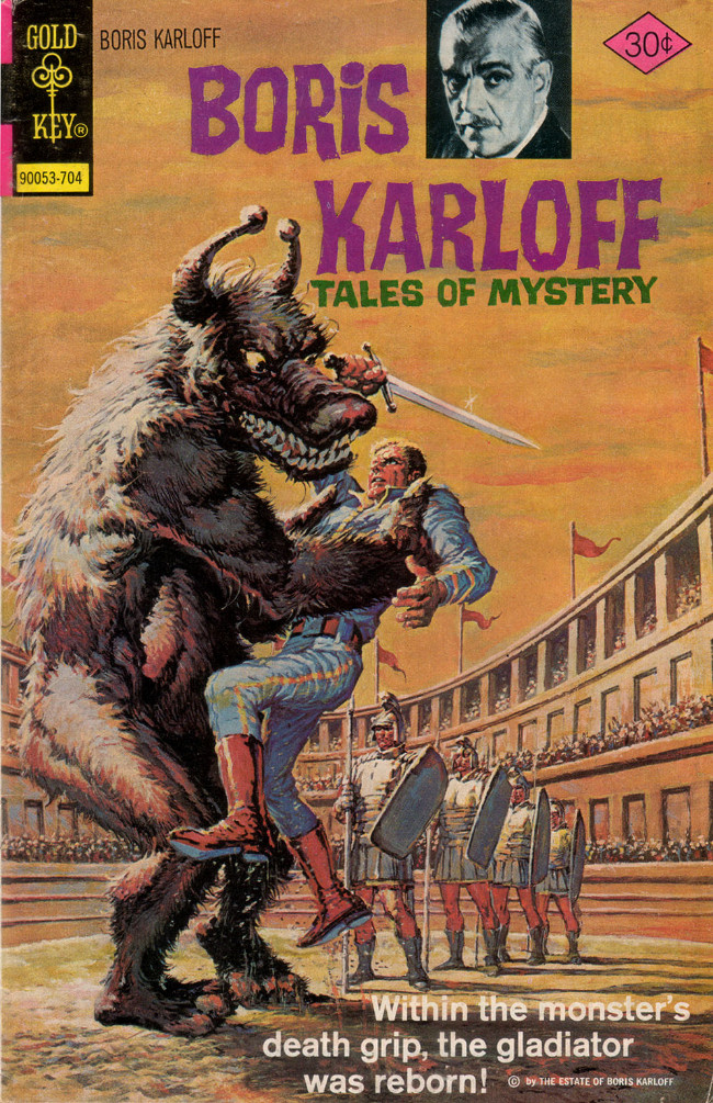 Couverture de Boris Karloff Tales of Mystery (Gold Key - 1963) -74- Within the Monster's Death Grip, the Gladiator Was Reborn!