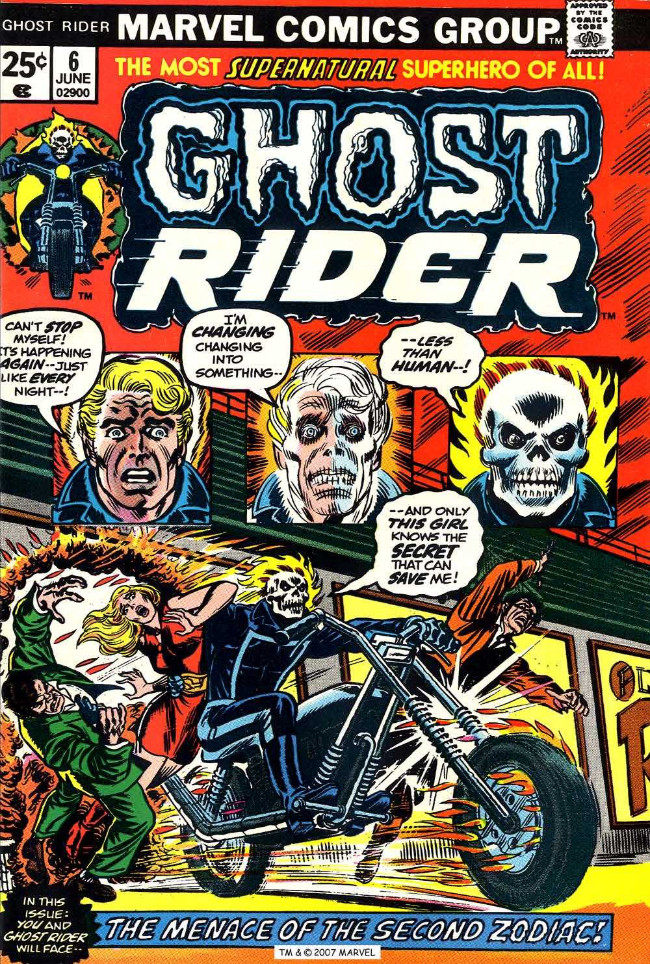 Couverture de Ghost Rider Vol.2 (Marvel comics - 1973) -6- The Menace of the Second Zodiac!