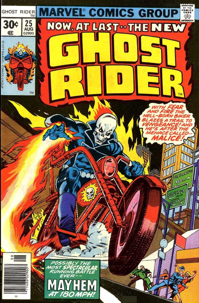 Couverture de Ghost Rider Vol.2 (Marvel comics - 1973) -25- Menace is a Man Called Malice!