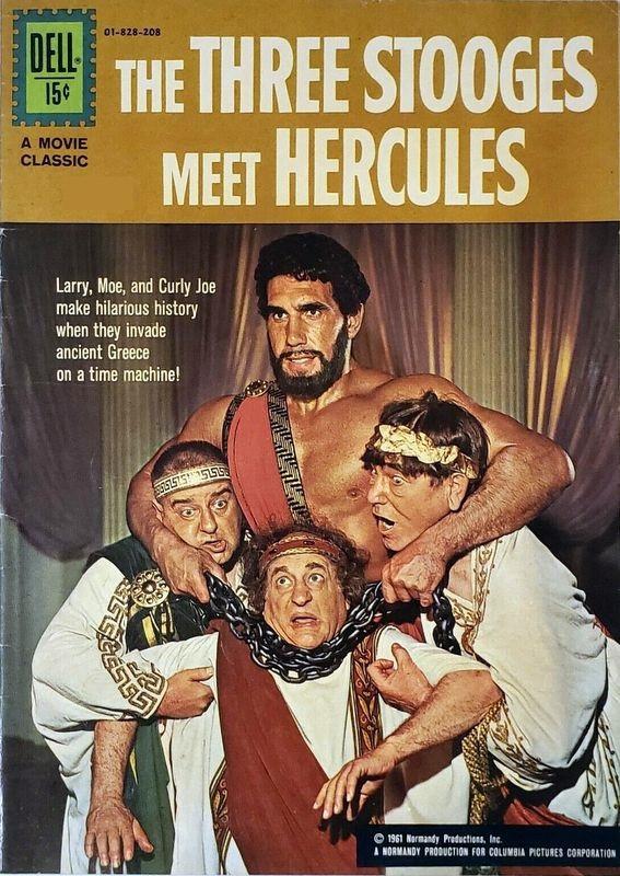 Couverture de Movie Classics (Dell - 1962) -828- The Three Stooges Meet Hercules