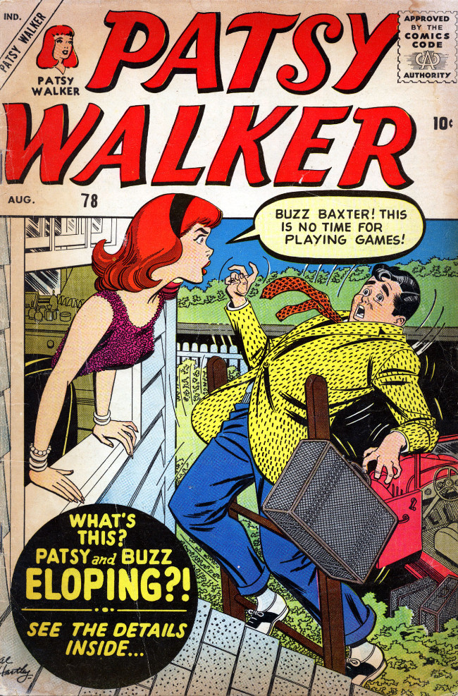 Couverture de Patsy Walker (Timely/Atlas - 1945) -78- Patsy and Buzz Eloping?!