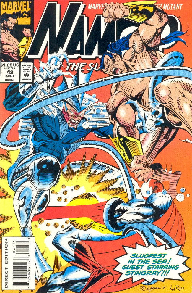 Couverture de Namor, The Sub-Mariner (Marvel - 1990) -42- Slugfest in the Sea! Guest Starring Stingray!!!