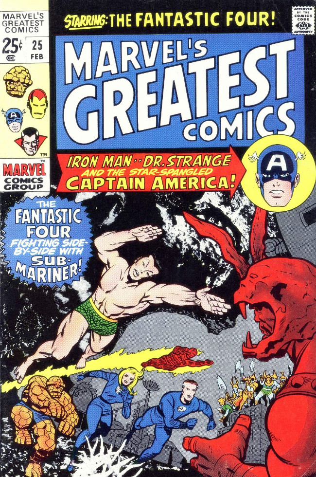 Couverture de Marvel's Greatest Comics (Marvel - 1969) -25- The Fantastic Four Fighting Side-by-Side With Sub-Mariner!