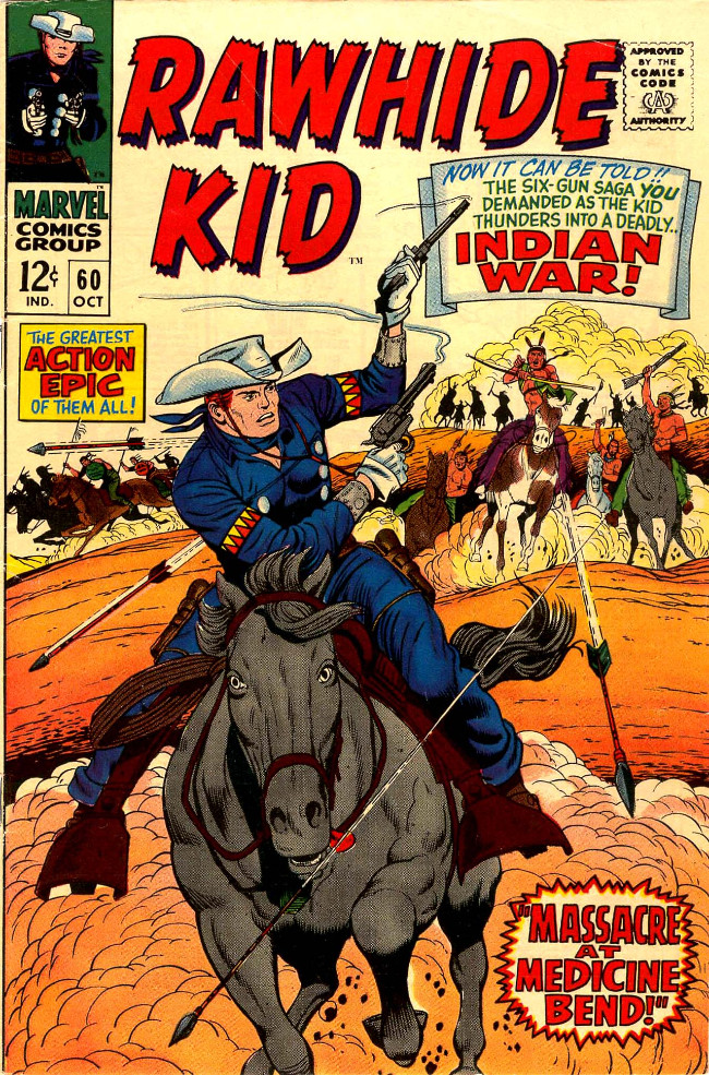 Couverture de Rawhide Kid Vol.1 (Atlas/Marvel - 1955) -60- Massacre at Medicine Bend!