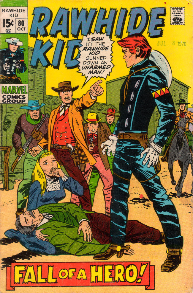 Couverture de Rawhide Kid Vol.1 (Atlas/Marvel - 1955) -80- Fall of a Hero!