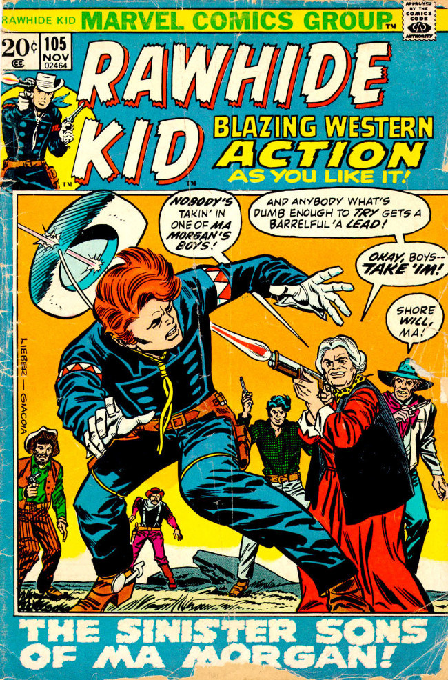 Couverture de Rawhide Kid Vol.1 (Atlas/Marvel - 1955) -105- The Sinister Sons of Ma Morgan!
