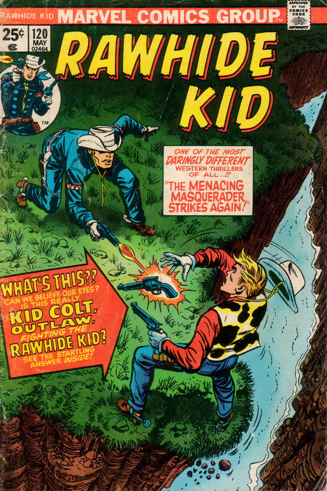 Couverture de Rawhide Kid Vol.1 (Atlas/Marvel - 1955) -120- The Menacing Masquerader Strikes Again!