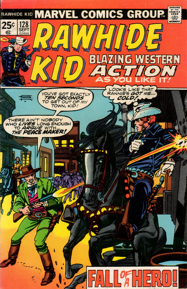 Couverture de Rawhide Kid Vol.1 (Atlas/Marvel - 1955) -128- Fall of a Hero!