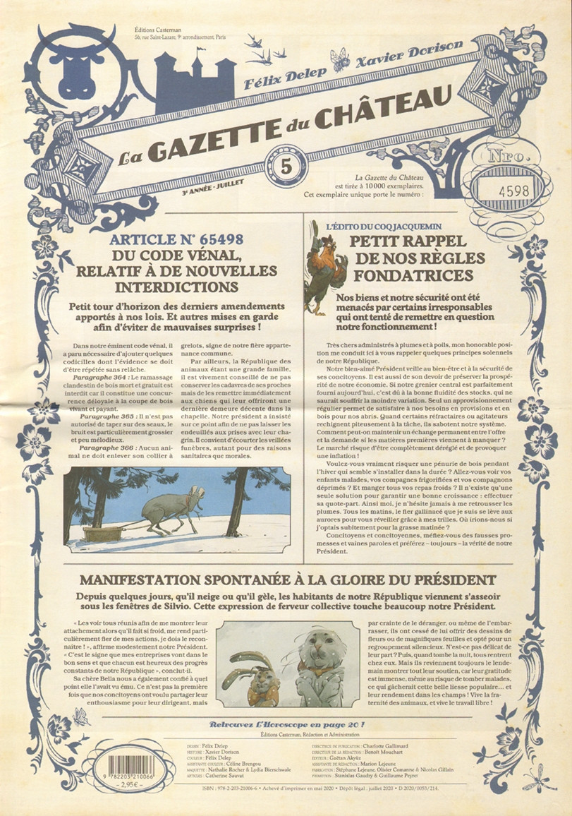 Couverture de Le château des Animaux -5- La Gazette du Château n°5