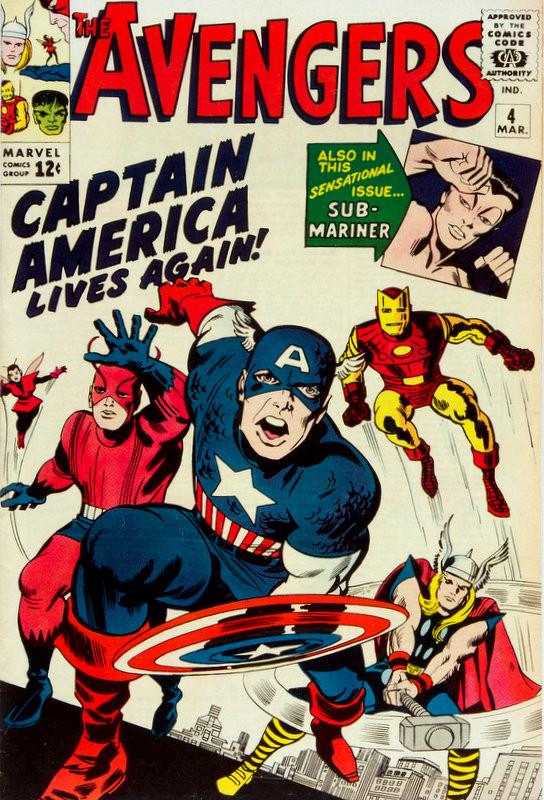 Couverture de Avengers Vol. 1 (Marvel Comics - 1963) -4- Captain America Lives Again!