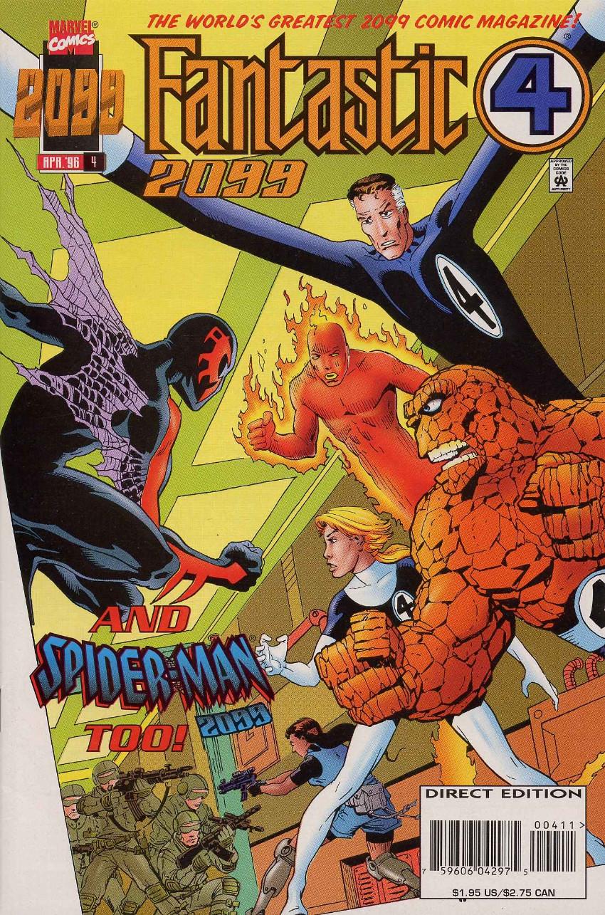 Couverture de Fantastic Four 2099 (Marvel comics - 1996) -4- Fantastic Four 2099 and Spider-Man 2099 Too!