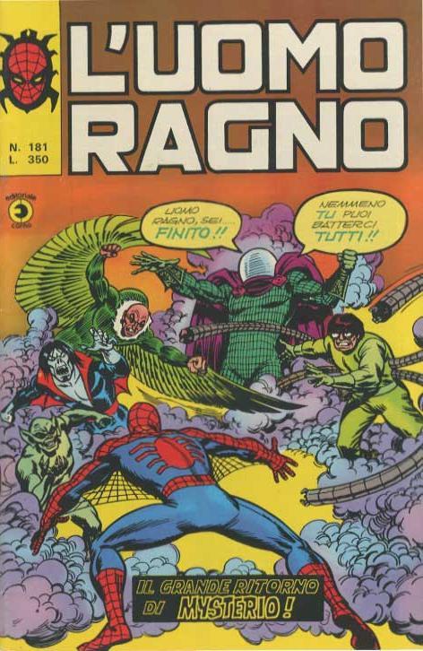 Couverture de L'uomo Ragno V1 (Editoriale Corno - 1970)  -181- Il grande Ritorno di Mysterio