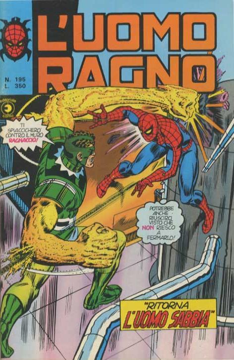 Couverture de L'uomo Ragno V1 (Editoriale Corno - 1970)  -195- Ritorna l'Uomo Sabbia
