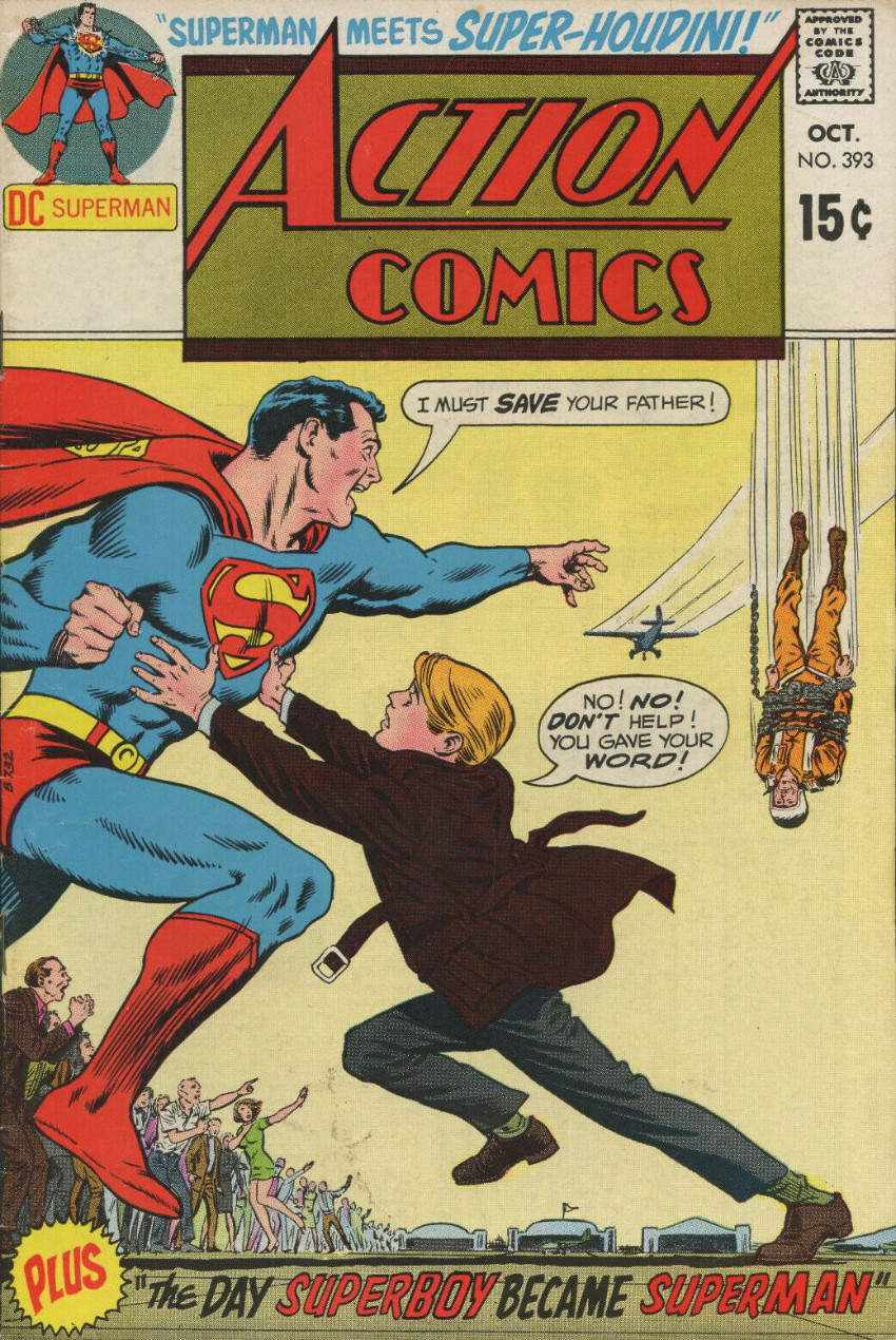 Couverture de Action Comics (DC Comics - 1938) -393- Superman Meets Super-Houdini!