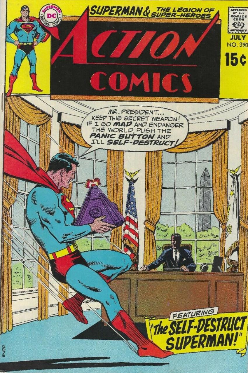Couverture de Action Comics (DC Comics - 1938) -390- The Self-Destruct Superman!