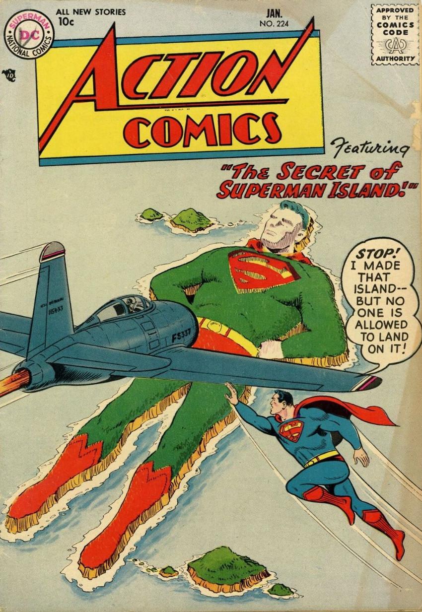 Couverture de Action Comics (DC Comics - 1938) -224- The Secret of Superman Island!
