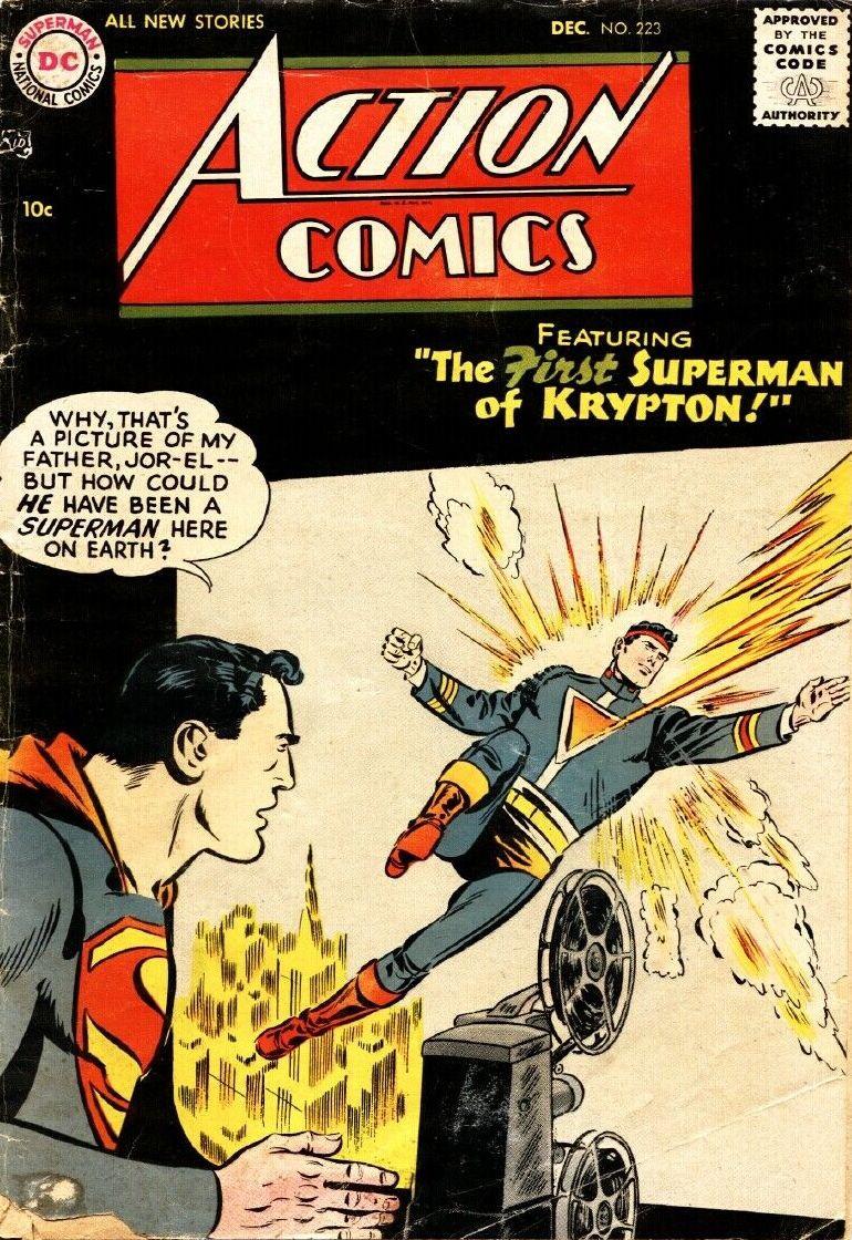 Couverture de Action Comics (DC Comics - 1938) -223- The First Superman of Krypton!