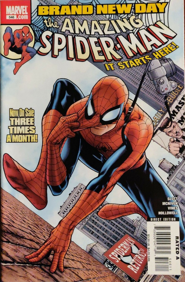Couverture de Amazing Spider-Man (The) Vol.2 (Marvel comics - 1999) -546- Brand New Day [Part 1]
