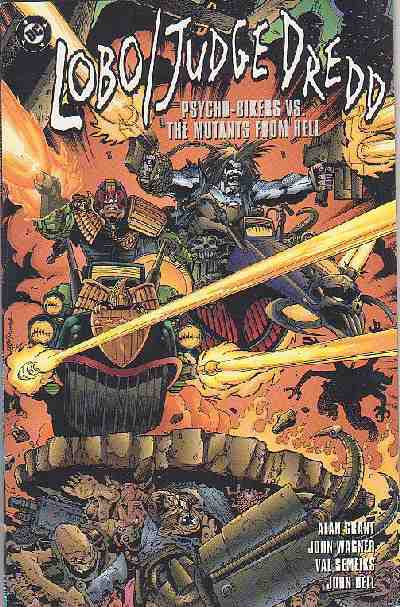 Couverture de Lobo (One shots & Various) -OS- Lobo/Judge Dredd: Psycho Bikers vs. the Mutants From Hell
