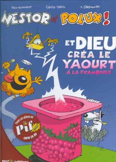 Couverture de Nestor et Polux ! -1- Et Dieu créa le yaourt à la framboise